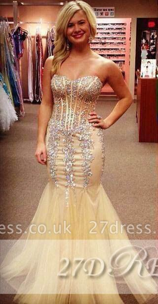 Shining Sweetheart Mermaid Evening Dress UKes UK Tulle Prom Gowns with Beadings