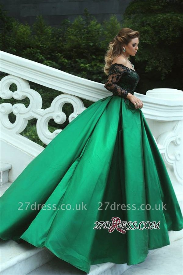 Black-Appliques Sleeves Green Long Off-the-Shoulder A-Line Sexy Prom Dress UK BA7135