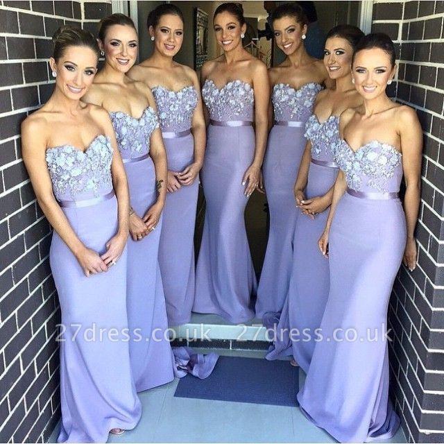 Elegant Sweetheart Sleeveless Mermaid Bridesmaid Dress UK With Appliques
