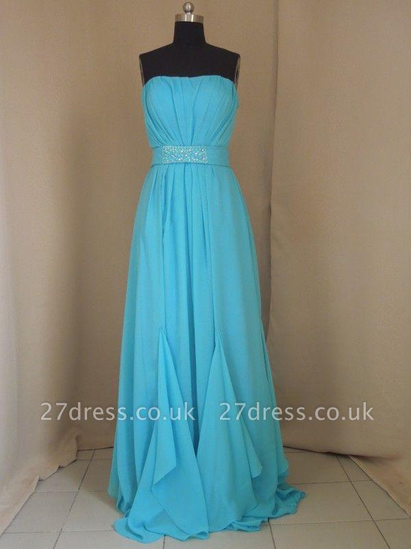 Evening Elegant Prom Dress UKes UK Blue Beading Sashes Strapless Sheath Dress UKes UK
