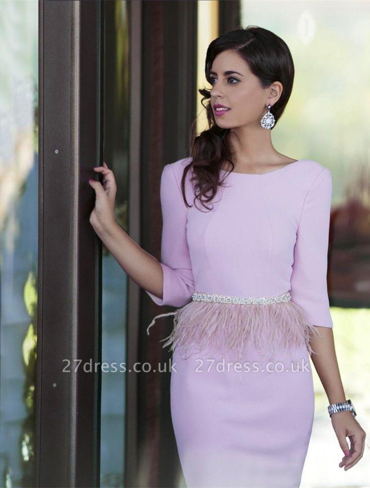 Modern Pink Jewel Beadings Feather Prom Dress UK Open Back Half Sleeve