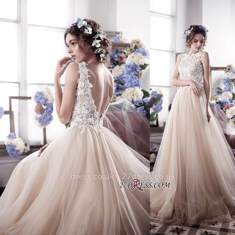Sleeveless Romantic Tulle Vintage Appliques Wedding Dress