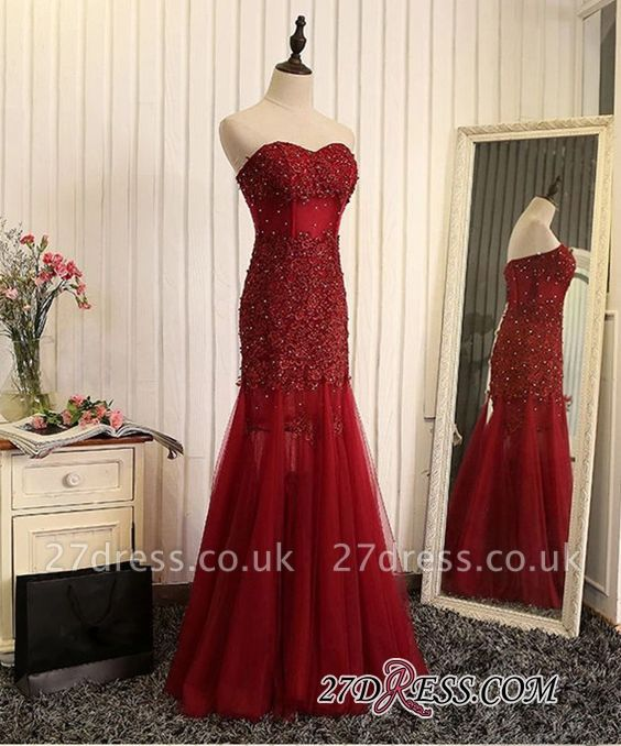 Luxury Sweetheart Mermaid Prom Dress UK Tulle With Lace Appliques