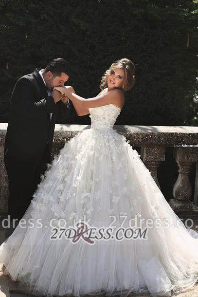 Elegant Sweetheart Sleeveless Tulle Wedding dress With Ball Gown Floor-length Flowers