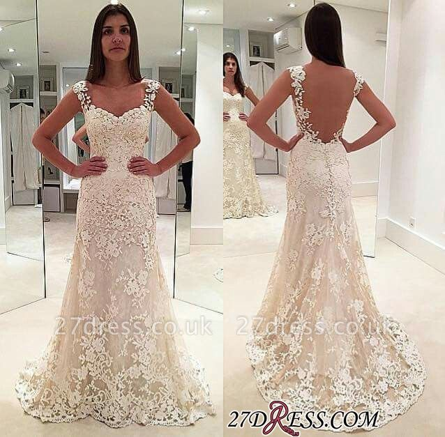 Backless Lace Straps Elegant Sexy Mermaid Sleeveless Wedding Dresses UK