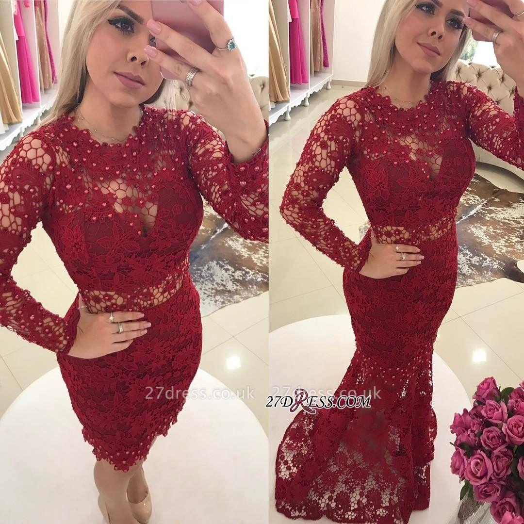 Luxury Jewel Lace Evening Gowns | Long Sleeves Mermaid Prom Dress UKes UK