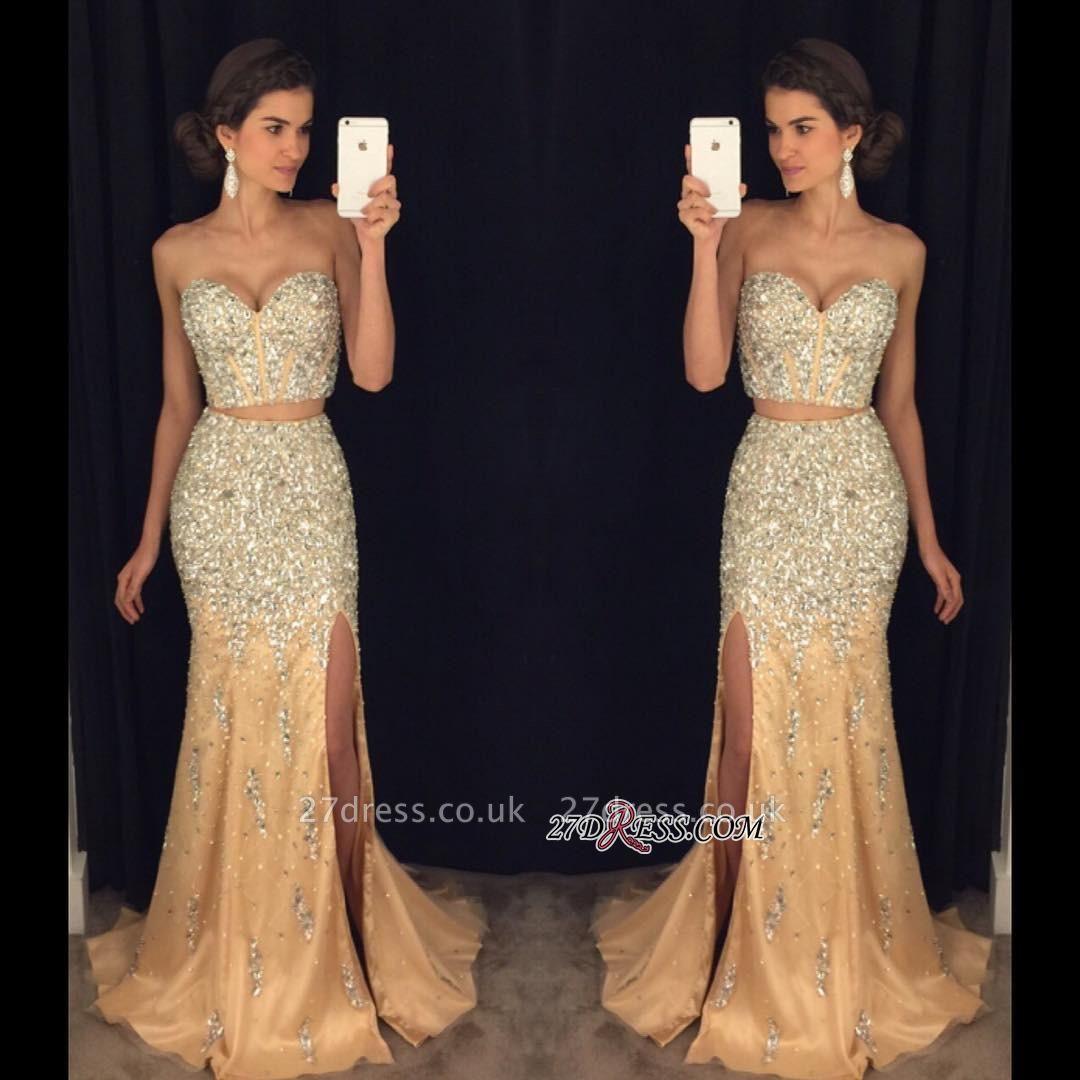 Mermaid Side-Slit Sweetheart Crystal Two-Pieces Luxury Prom Dress UK AP0