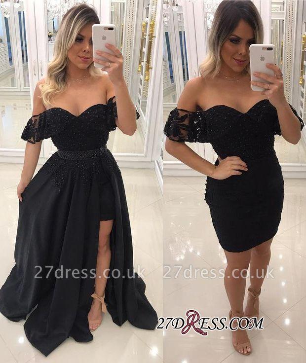 Off-The-Shoulder Beaded Chic Side-Slit Black A-Line Evening-Dress UKes UK BA7540
