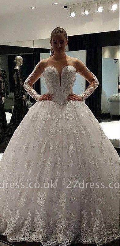Fashion Long Sleeve Lace Ball Gown Wedding Dress Floor-Length
