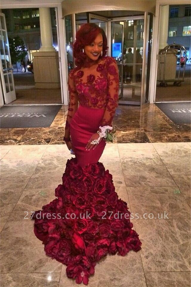 Long Sleeves Lace Prom Dress UK Flowers Mermaid Floor Length