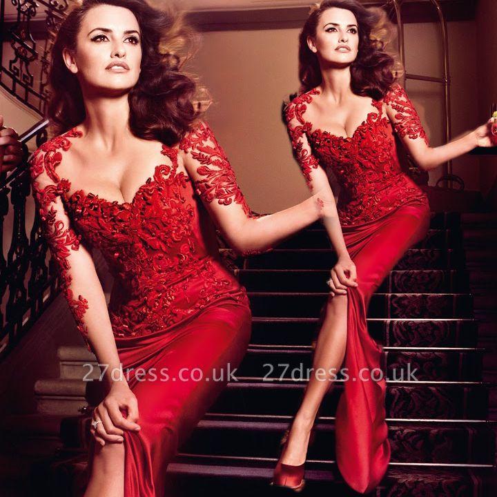 Hot Sale Red Lace Chiffon Evening Party Dress UKes UK Short Sleeve Prom Dress UKes UK on sale