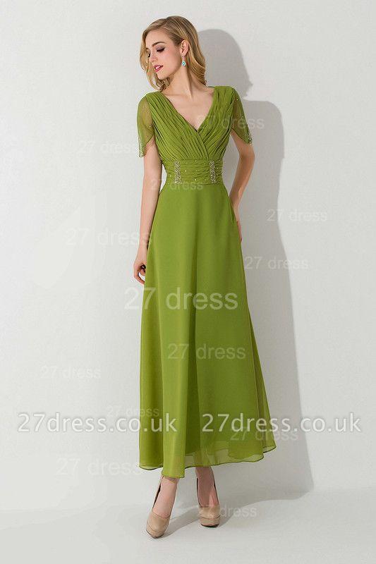 Newest V-neck Short Sleeve Evening Dress UK Chiffon Floor-length