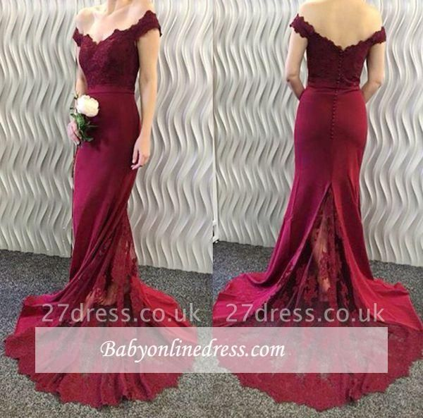 Burgundy Lace Appliques Long Off-the-Shoulder Mermaid Prom Dresses LY86
