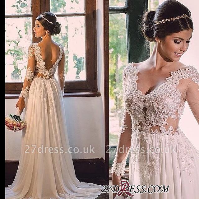 V-neck Simple A-line Backless Lace  Sweep-Train Wedding Dress LPL029