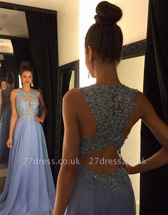 Beautiful Lace Appliques Sleeveless Prom Dress UK Long Chiffon Party Gowns AP0