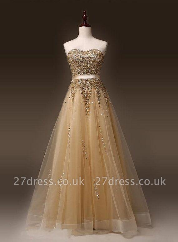 Newest Sweetheart Sleeveless Sequins Evening Dress UK Zipper Floor-length TB0004