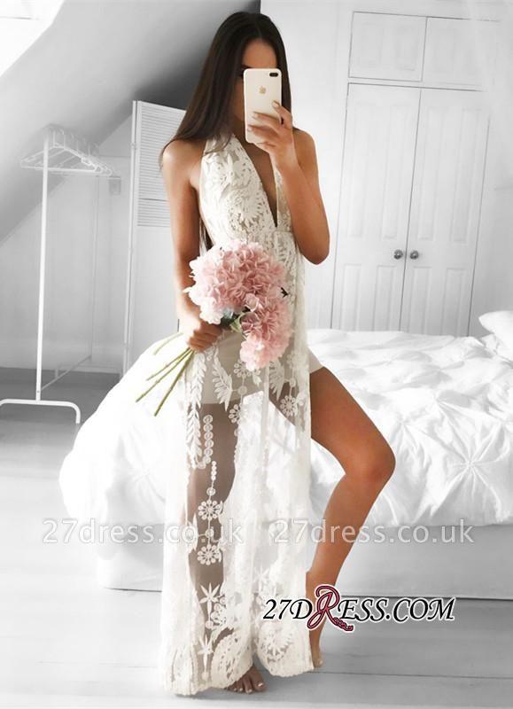 Sleeveless Front-Split Mermaid V-neck Lace Elegant Floor-length Prom Dress UK