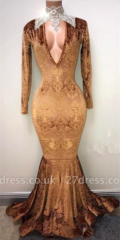 Gold-V-neck Mermaid Prom Dress UK, Lace Evening Gowns On Sale