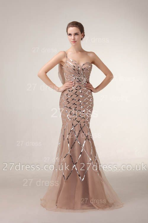 One Shoulder Mermaid Prom Gowns Sequined Sweep Train Evening Dress UKes UK