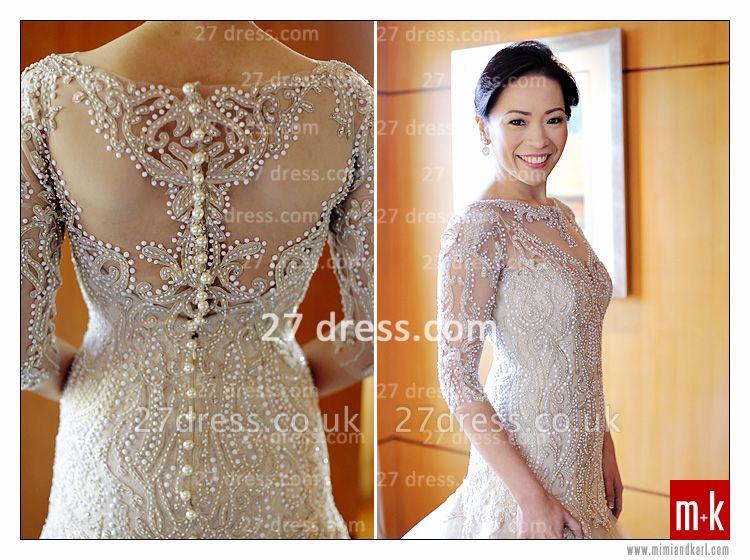Train Wedding Dresses UK Bridal Gowns Beads Sequins Appliques Bateau Long Sleeves Button Back Court A-line