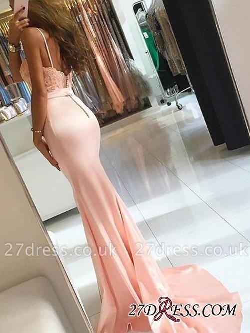 Mermaid Lace-Appliques Newest Sleeveless Spaghetti-Strap Prom Dress UK SP0288