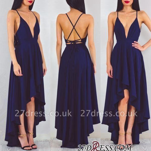 A-line Spaghetti-StrapS Hi-Lo Sleeveless Elegant Prom Dress UK