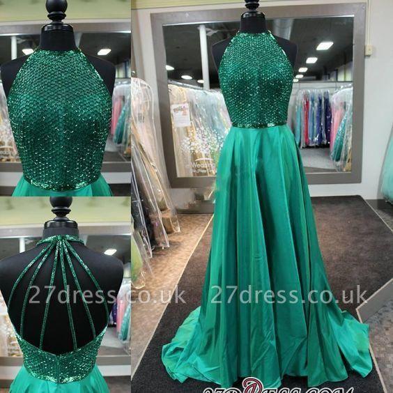 Halter-Neck Dark-Green Amazing Net-Design-Top Long Prom Dress UKes UK BA4331