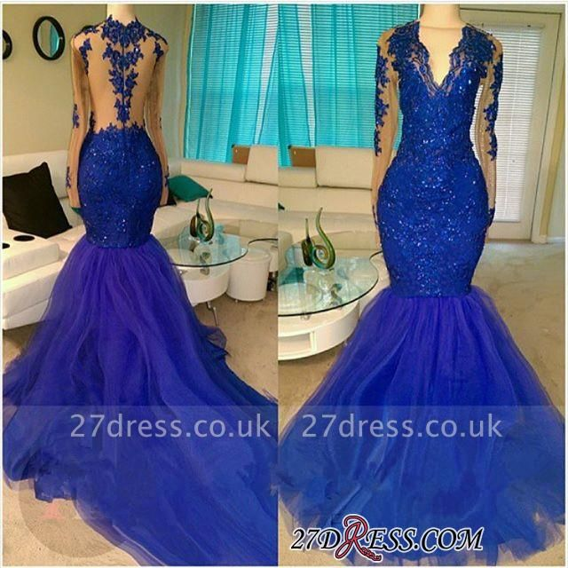 V-neck Royal-Blue Mermaid Beading Sequins Tulle Appliques Long-Sleeve Prom Dress UKes UK