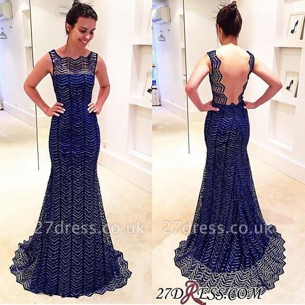 Sleeveless Sweep-Train Backless Royal-Blue Sheath-Column Evening Dress UK