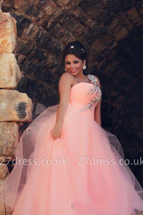 Chic Tulle Crystals Princess Pink Wedding Dress One Shoulder