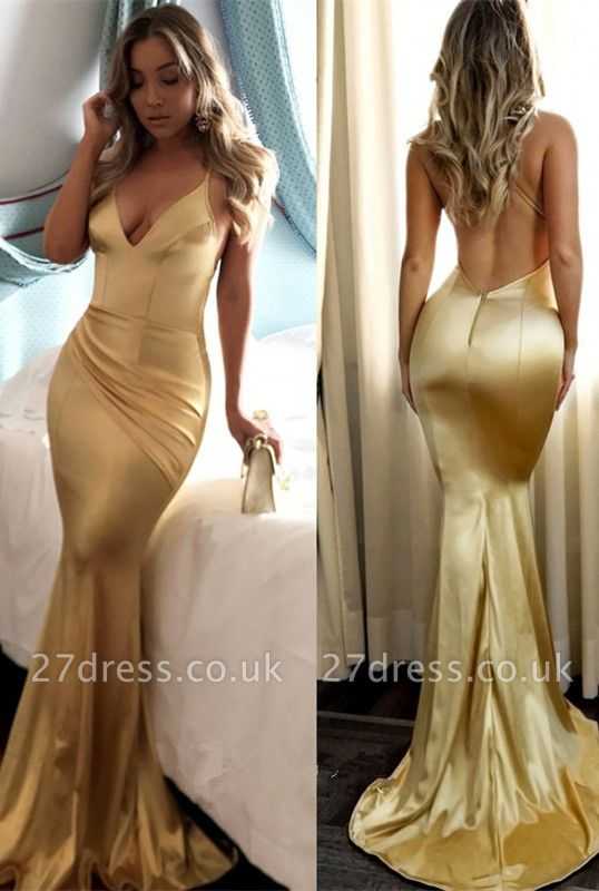Yellow Halter V-neck Prom Dress UK   Mermaid Evening Party Gowns