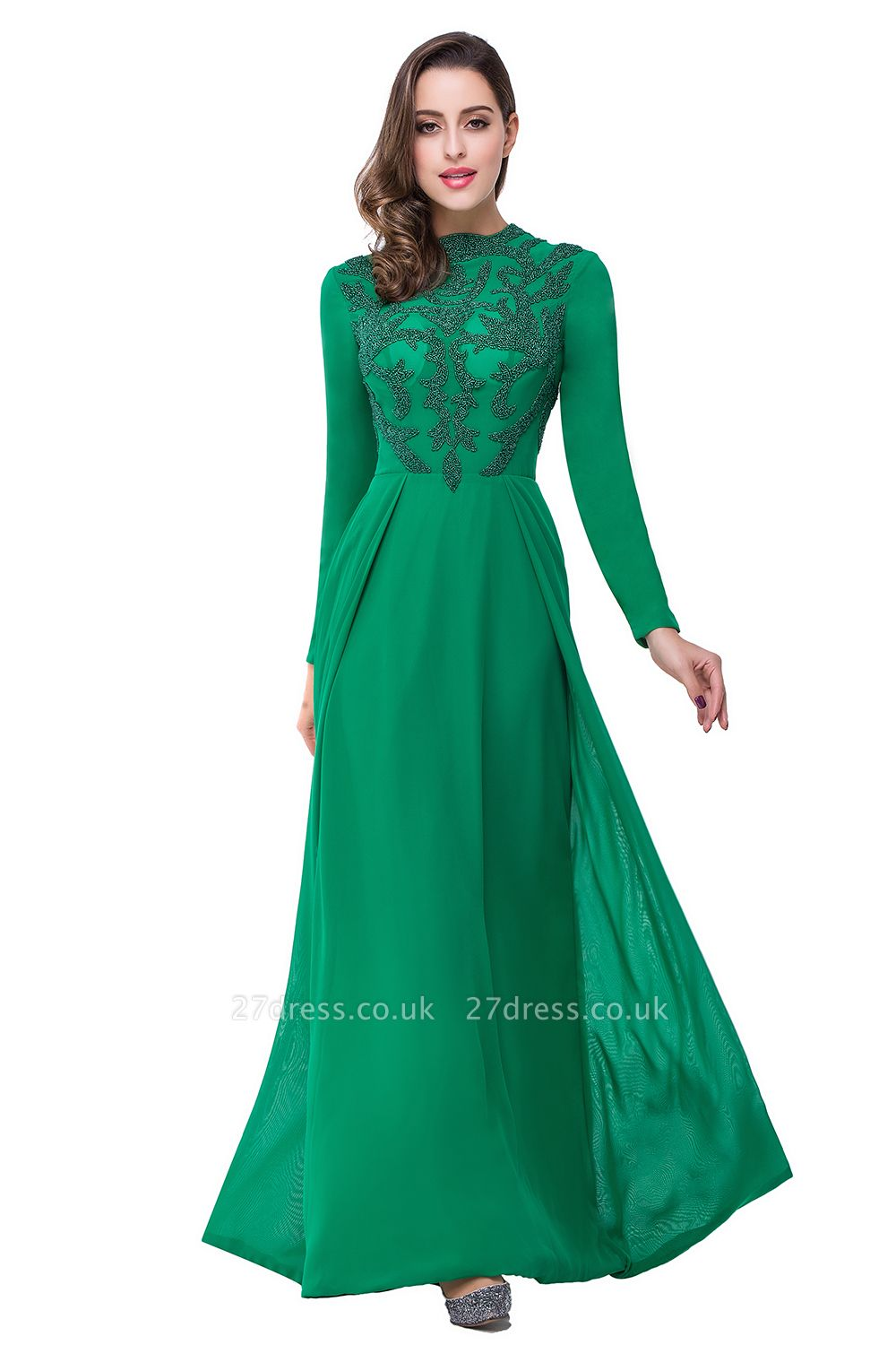 Sexy Green Long Sleeve Beadings Evening Dress UK Long Chiffon Party Gowns