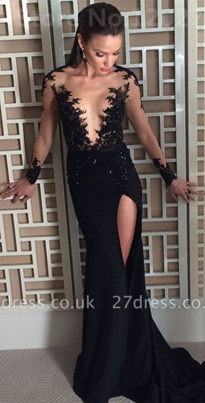 Elegant Black Long Sleeve Evening Dress UK Appliques Front Split Long CE082