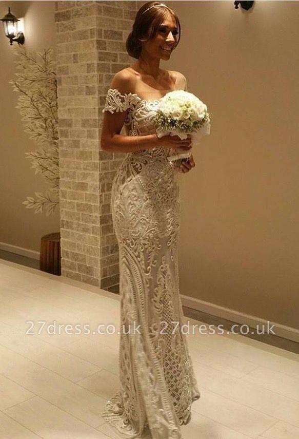Elegant Off the shoulder Lace Sexy Mermaid Wedding Dress Floor Length BA7052