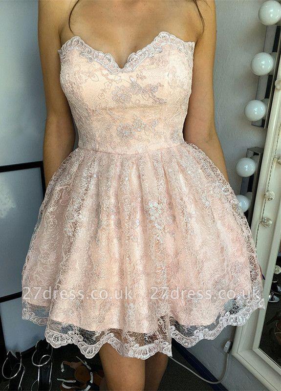 Hot Sale Lace Homecoming Dress UK Sweetheart Lace-up Short Prom Dress UK