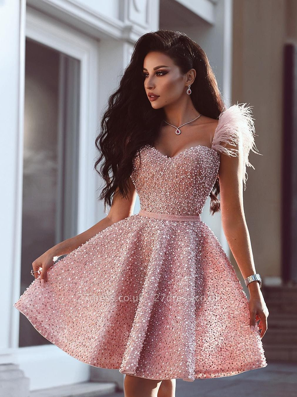 A-Line Beading Homecoming Dress UK | Luxury Feather Pink Party Dress UK