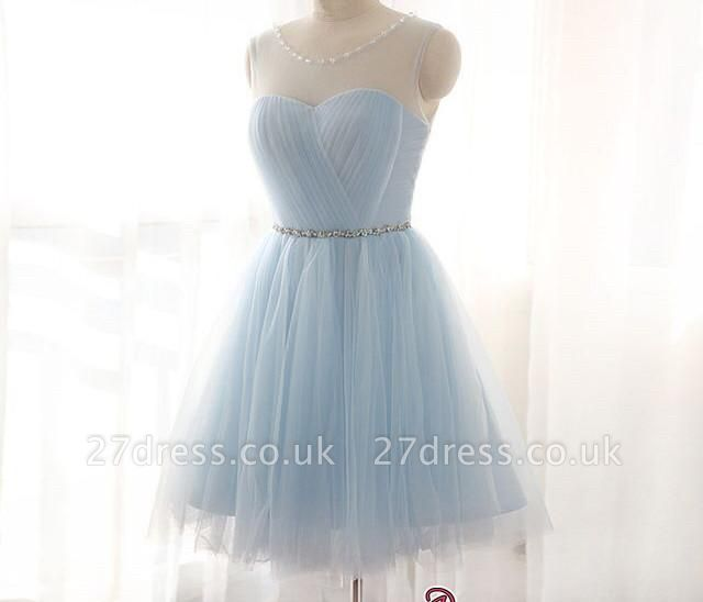 Sleeveless Newest Illusion Beads Mini A-line Tulle Homecoming Dress UK BA3644