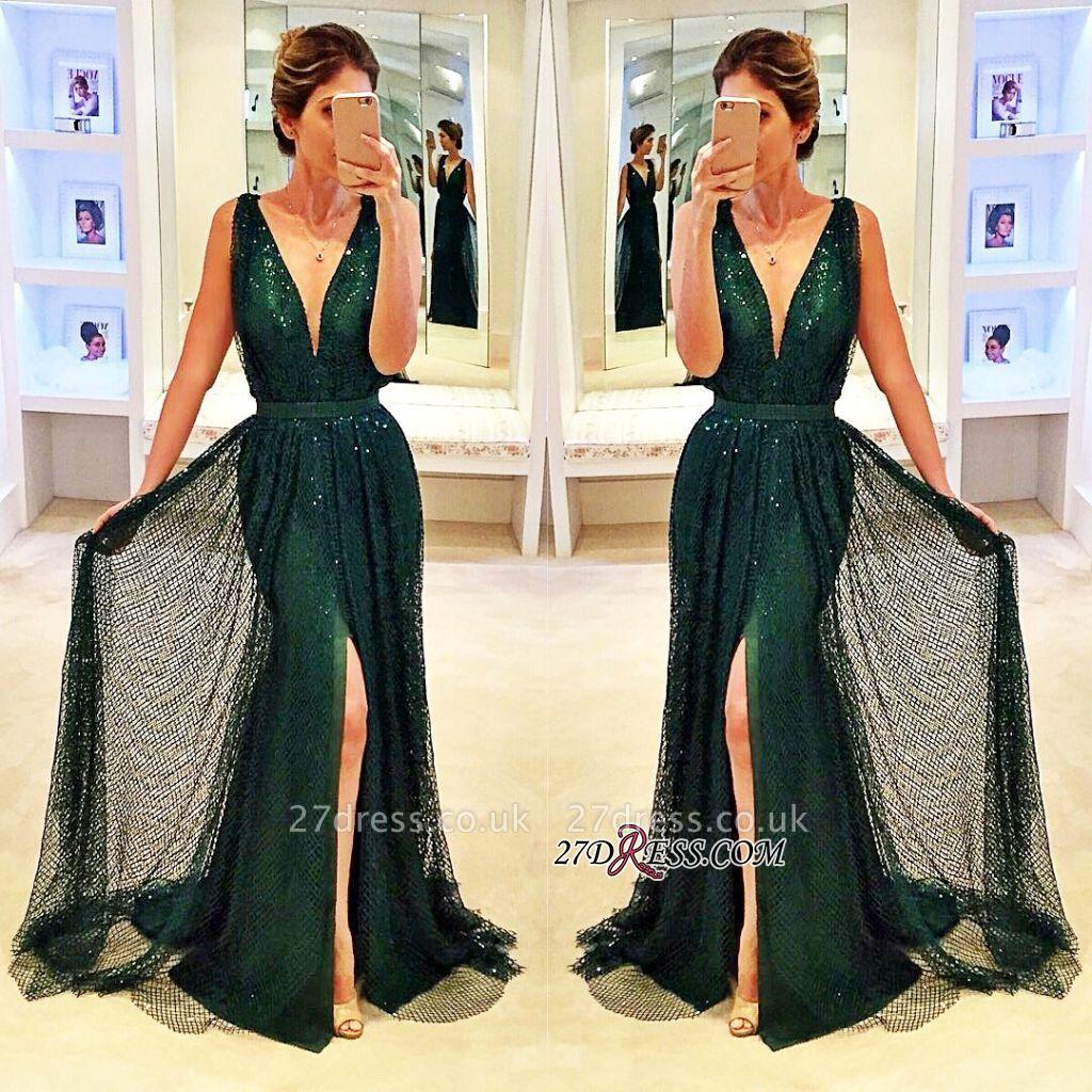Sleeveless V-Neck Front-Split Elegant Sequined Dark-Green Prom Dress UK BA4250