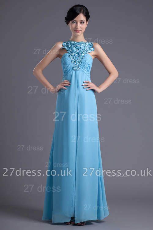 Sexy Chiffon A-line Appliques Evening Dress UK Floor-length Zipper