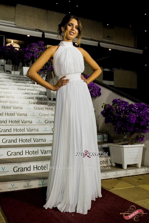 Long High-Neck White Ruched Chiffon Sexy Prom Dress UK