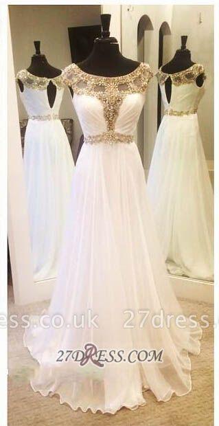 Gorgeous A-line Jewel Chiffon Prom Dress UK Floor-length Cap Sleeve Beadings Evening Gown