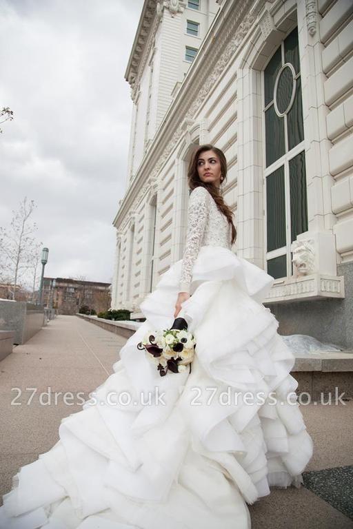 Elegant Beadss Lace Appliques Wedding Dress Ruffles Court Train