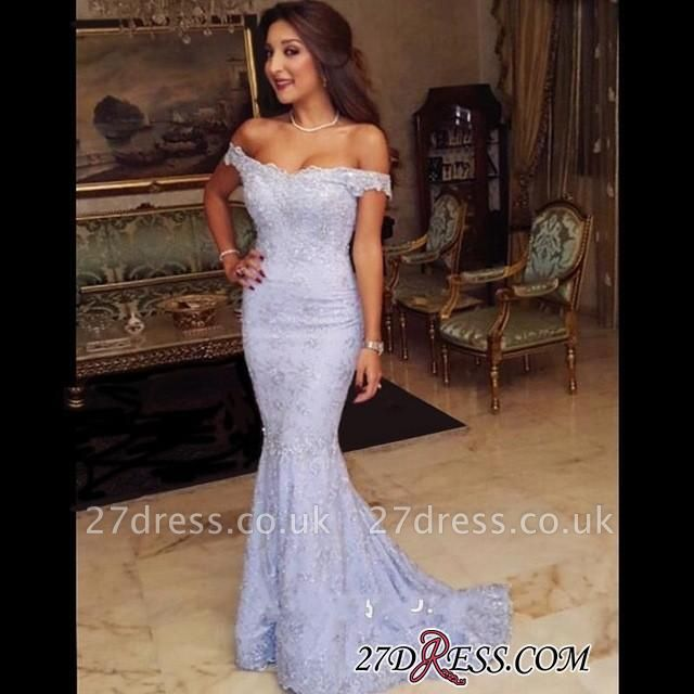 Sweep-Train Modest Lace Mermaid Off-the-shoulder Prom Dress UK BA7592
