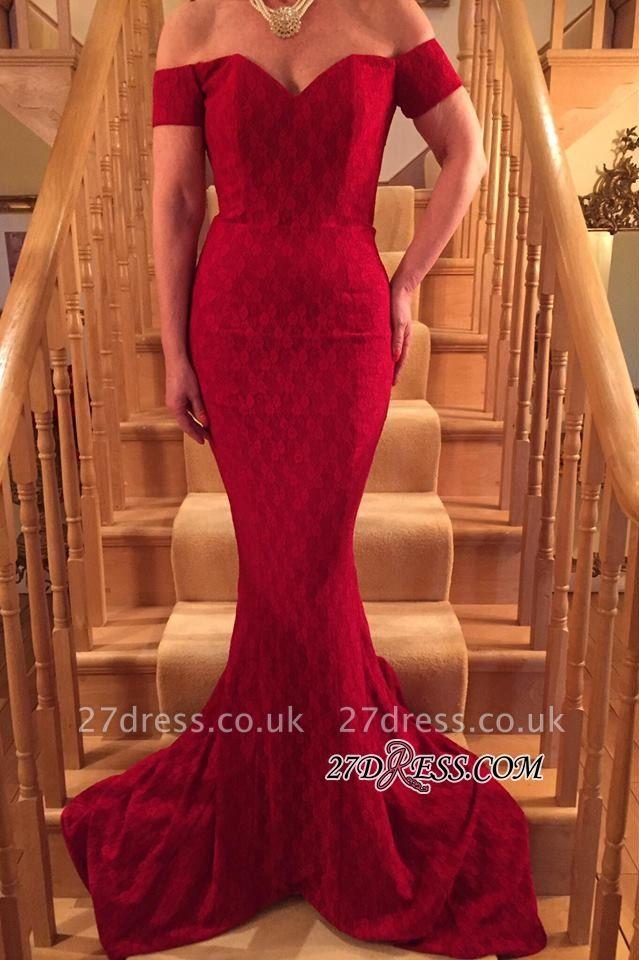 Mermaid Short-Sleeve Gorgeous Red Lace Long Prom Dress UK