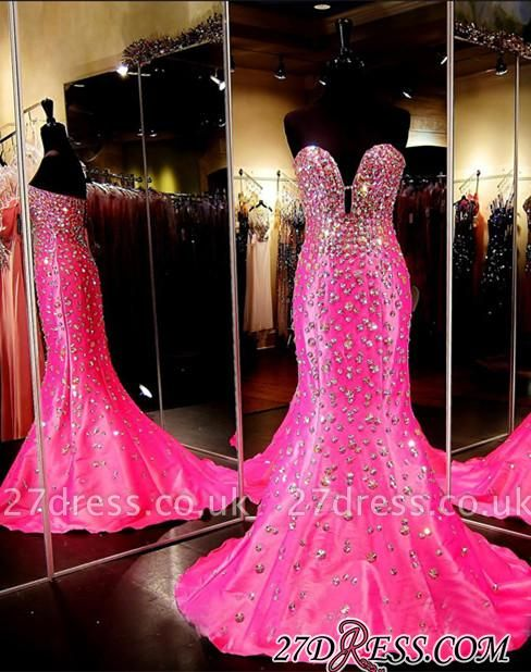 Sleeveless Sweetheart Open-Back Crystal Luxury Mermaid Prom Dress UK BA3968