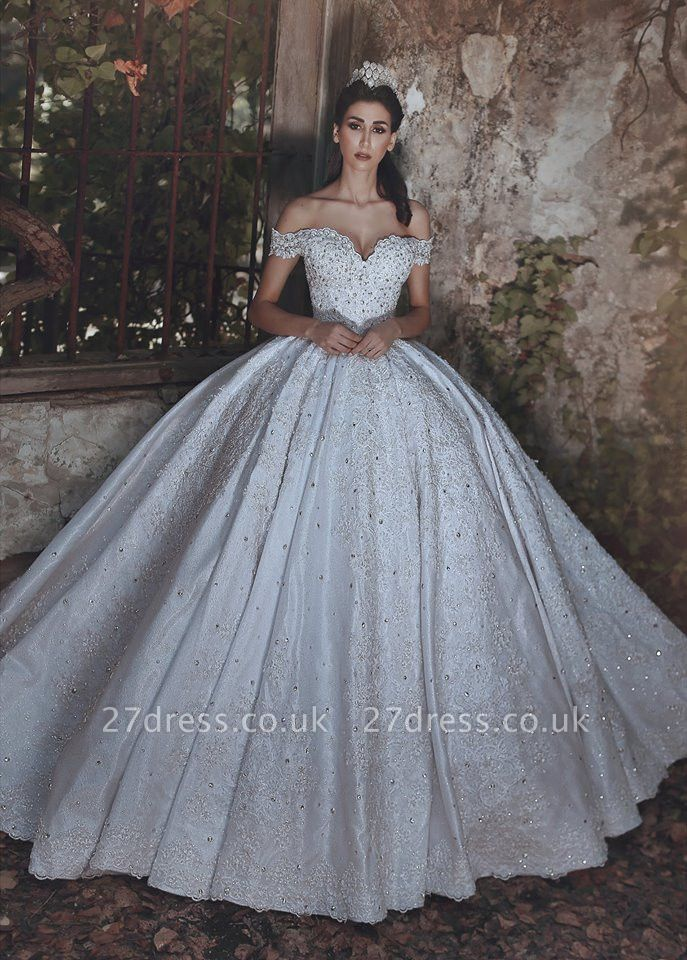 Elegant Off-the-Shoulder Lace Wedding Dress Ball Gown Beads Wedding Reception