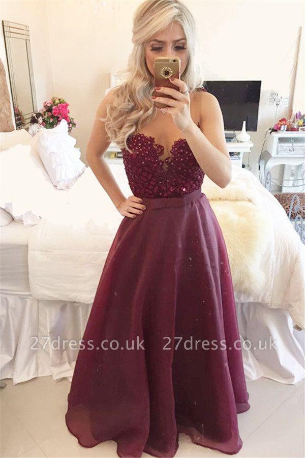 Modern A-line Beadings Burgundy Prom Dress UK Zipper Button Back BT