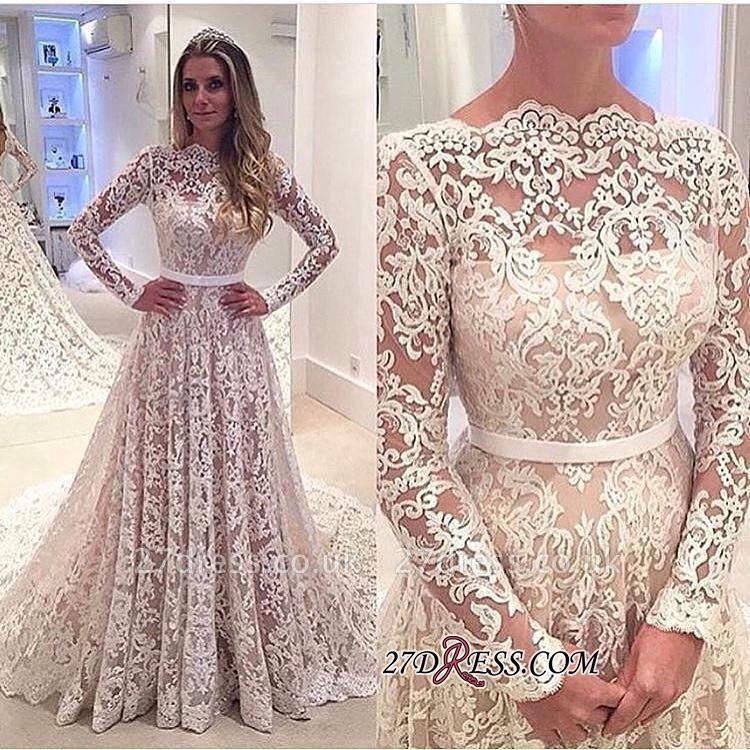 Long-Sleeves Backless Lace Bowknot Elegant A-Line Wedding Dress BA3858