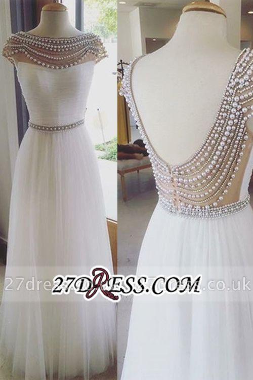 Long Luxury Beadings Capped-Sleeves Open Back Prom Dress UKes UK