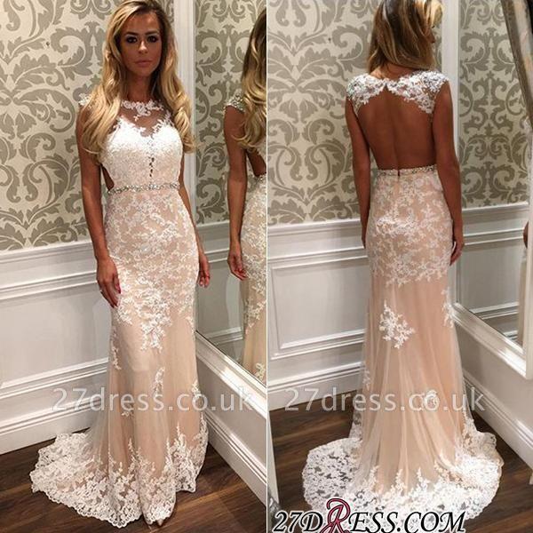 Tulle Open-Back Luxury Long Lace Crystal Prom Dress UK BA4294
